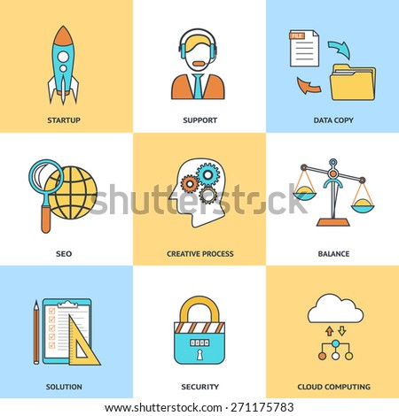 Modern line icons set in flat design for social media, e-business, web site development, mobile applications, banners, corporate brochures, book covers, layouts etc. Vector eps10 illustration - stock vector