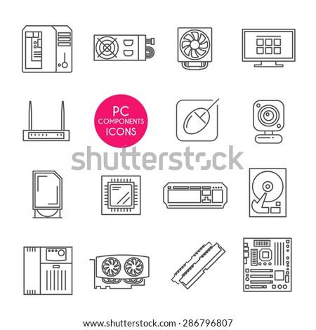 Modern line icons set. PC components. Computer store. Assembling a Desktop Computer. - stock vector