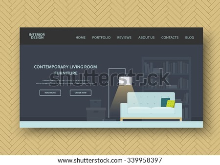 Modern living room interior with classic furniture . Flat design, minimalist style. Horizontal banner on wooden pattern. Isolated abstract elements . Vector illustration - 10EPS - for your advertising - stock vector