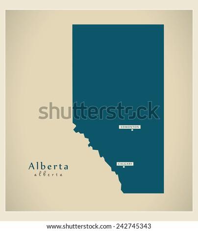 Modern Map - Alberta CA - stock vector