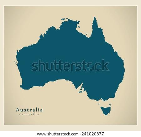 Modern Map - Australia AU - stock vector