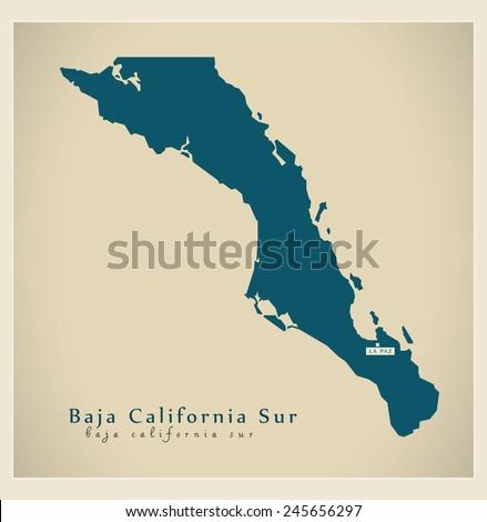 Modern Map - Baja California Sur MX - stock vector
