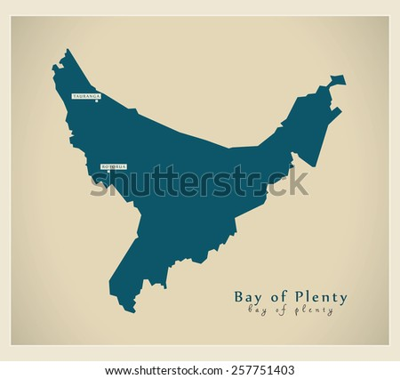Modern Map - Bay of Plenty NZ - stock vector