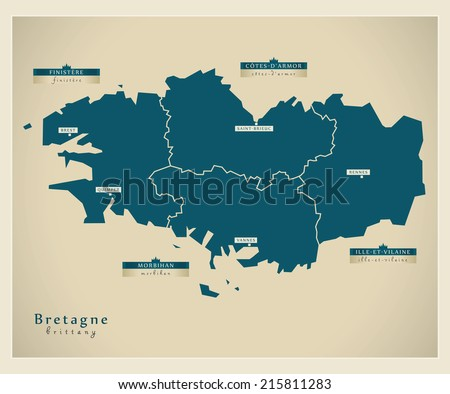 Modern map - Brittany FR - stock vector