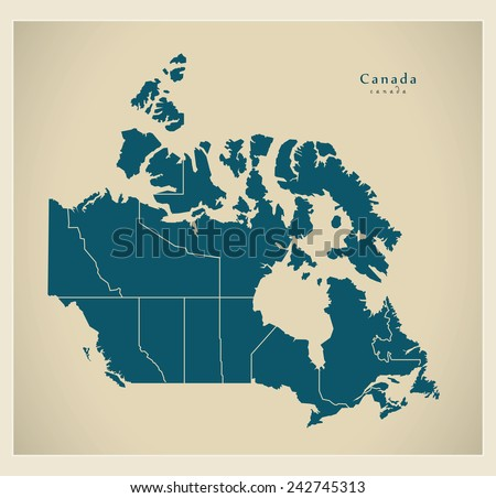 Modern Map - Canada with regions CA - stock vector