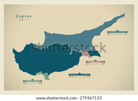 Modern Map - Cyprus the divided island CY - stock vector
