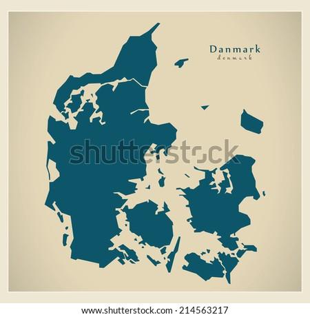 Modern map - Denmark - stock vector
