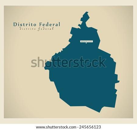 Modern Map - Distrito Federal MX - stock vector