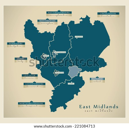 Modern Map - East Midlands UK - stock vector