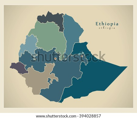 Modern Map - Ethiopia with regions colored ET - stock vector