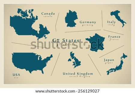 Modern Map - G7 States - stock vector
