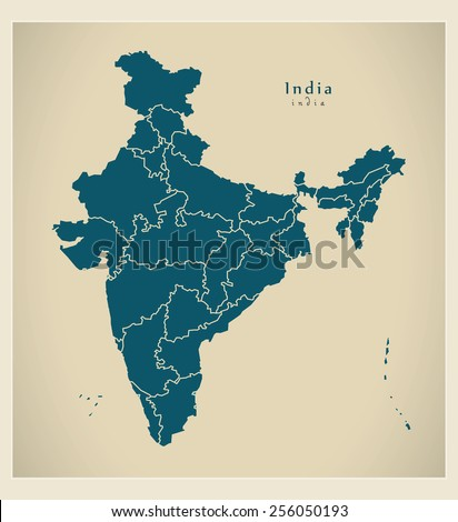 Modern Map - India with federal states IN - stock vector