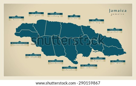 Modern Map - Jamaica with detailed parishes JM - stock vector