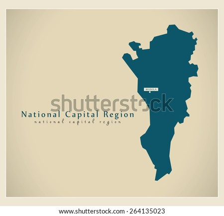 Modern Map - National Capital Region PH - stock vector