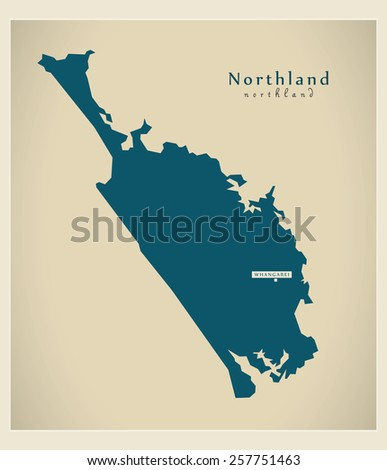 Modern Map - Northland NZ - stock vector