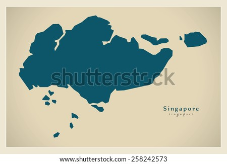 Modern Map - Singapore SG - stock vector