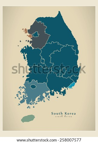 Modern Map - South Korea with regions KR - stock vector