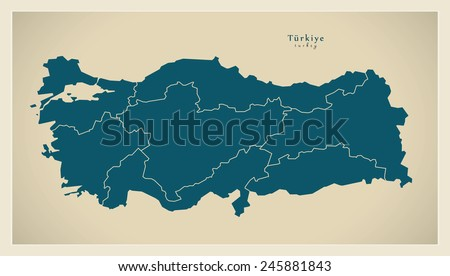 Modern Map - Turkey with regions TR - stock vector