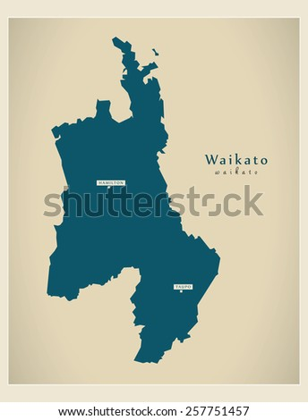 Modern Map - Waikato NZ - stock vector