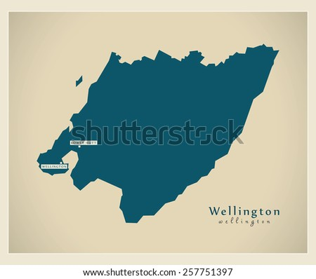 Modern Map - Wellington NZ - stock vector