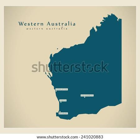 Modern Map - Western Australia AU - stock vector
