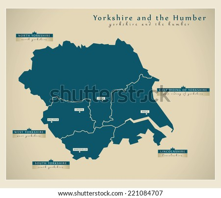 Modern Map - Yorkshire and the Humber UK - stock vector