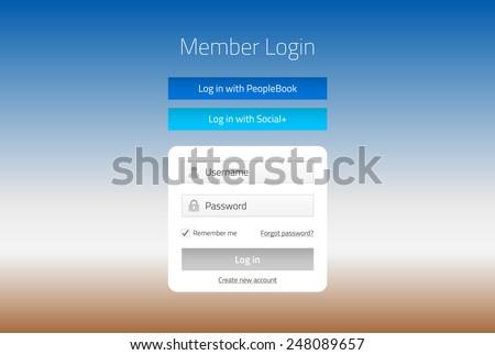 Modern member login website form with social media log in - stock vector