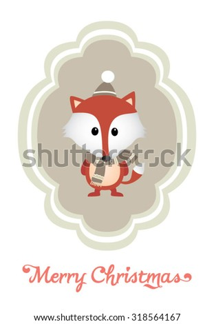 Modern Merry Christmas and New Year greeting Card with Typography. Cute Christmas character - stock vector