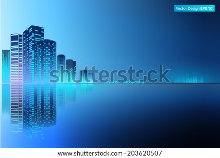 Modern metropolis City at night time, Modern city and light, urban skyscrapers.  - stock vector