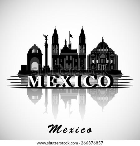 Modern Mexico City Skyline Design - stock vector
