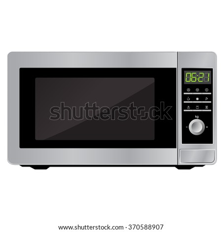 Modern microwave. Front view. Metal and glass. Vector Image. Realistically. Isolated on white background. - stock vector