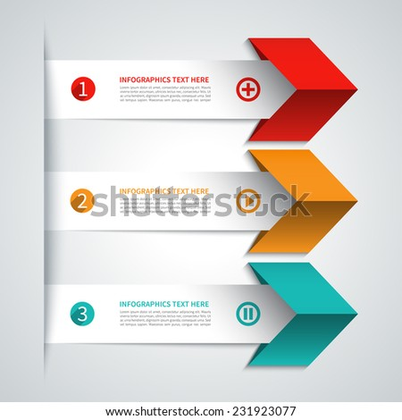 Modern minimal arrow infographics elements. Origami style. Vector illustration. Can be used for workflow layout, presentation, diagram, number and step up options, web design - stock vector