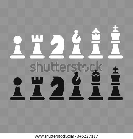Modern minimal chess icon set on gray chessboard pattern. Simple flat vector Illustration. - stock vector