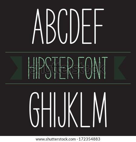 Modern minimal hipster font alphabet; Sans-serif elegant light font, vector alphabet letters design.  Heavy (bold, black, book) version - stock vector