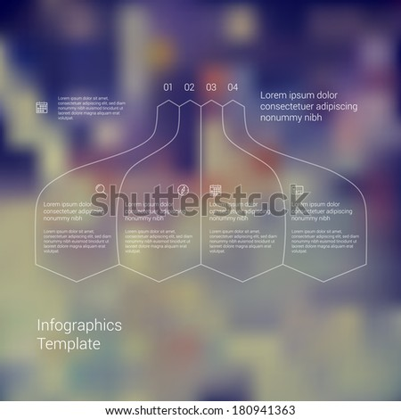 Modern minimal style infographic template layout. Infographics, numbered banner, cutout lines data scheme, graphic or website vector design with icons on blurred backdrop. Up down process flow chart. - stock vector