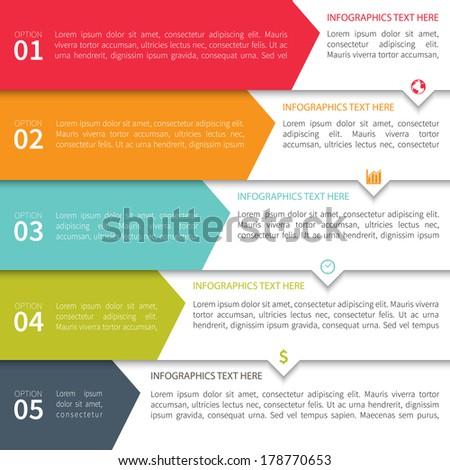 Modern Minimalistic Multicolor Infographics Template - stock vector