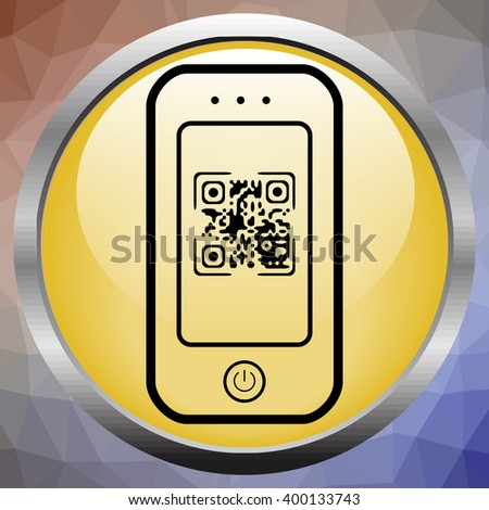 Modern mobile smartphone showing quick response code pattern scanner on the screen. Include clipping path for phone and screen. - stock vector