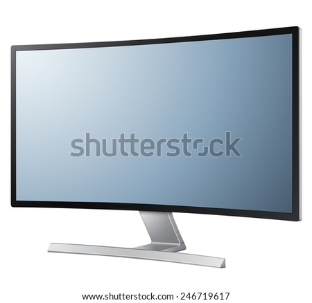 Modern monitor with curved screen, vector illustration. - stock vector