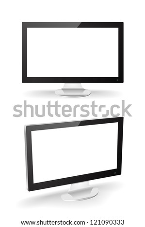 Modern monitors that could be a television or a computer screen. Can be used to add custom pictures. - stock vector