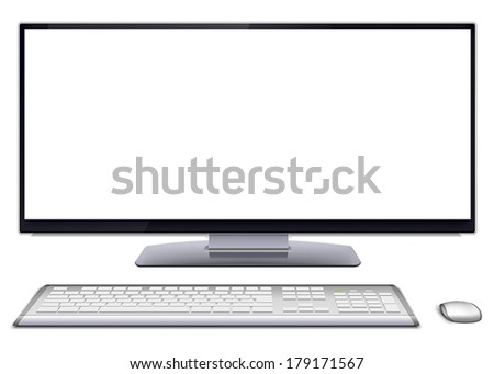 Modern monoblock desktop computer with blank white screen, silver wireless mouse and keyboard. Vector illustration, isolated on white background. - stock vector