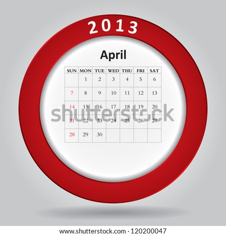 Modern monthly calendar for April, 2013 - stock vector