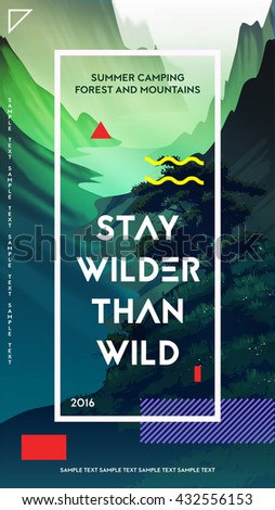 Modern motivational poster template with forest and mountains landscape. Trendy typographic and design elements. Vector illustration - stock vector
