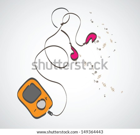 Modern MP3 player with earphones. Vector illustration - stock vector