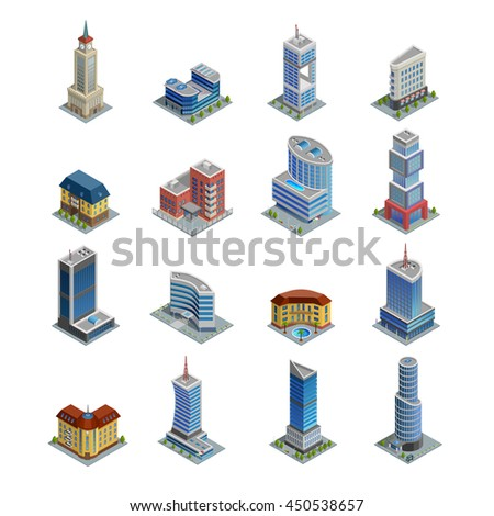 Modern multi-storeyed european city buildings of different and unusual shape on white background isometric icons set isolated vector illustration - stock vector