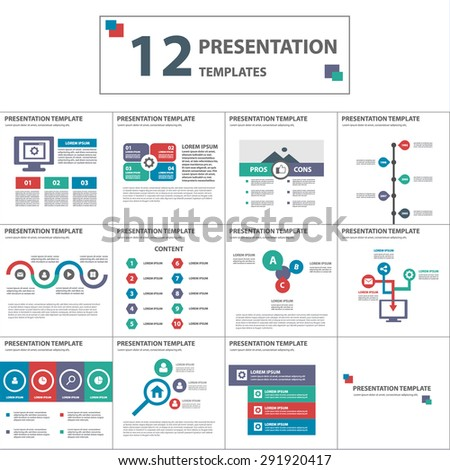 Modern multicolor multipurpose presentation template brochure flyer flat design set - stock vector
