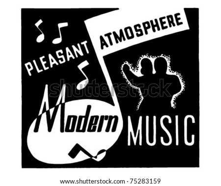 Modern Music - Retro Ad Art Banner - stock vector