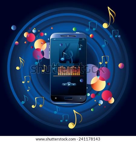Modern musical smart phone - stock vector