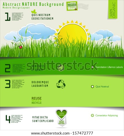 Modern nature or ecology design layout - stock vector