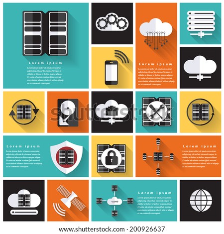 Modern network colorful flat icons with long shadow .Vector Design - stock vector