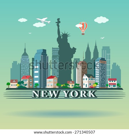 Modern New York City skyline design - stock vector